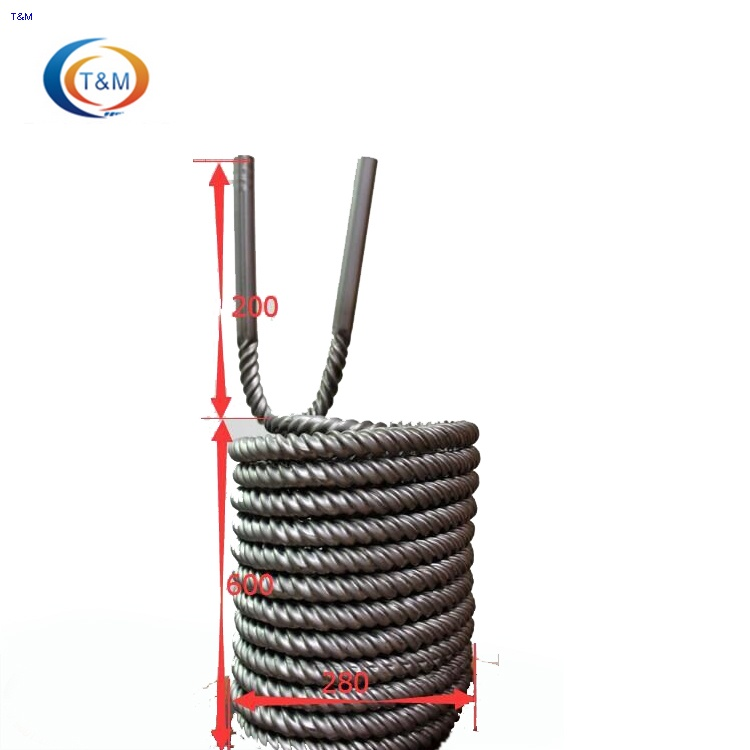 Twisted titanium heat exchanger coil